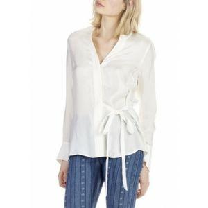 Chemise satinee centuree blanc sandro white blouse